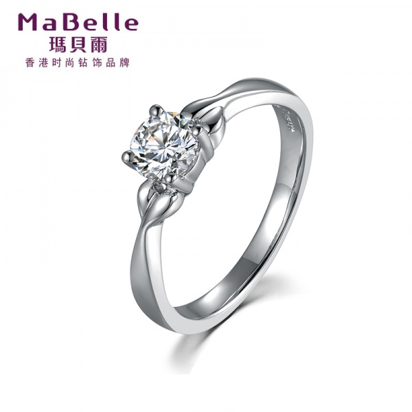 MaBelle/玛贝尔GIA白色18K40分钻石戒指单钻结婚求婚婚戒送礼_金
