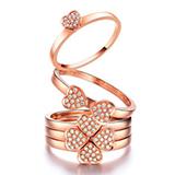 珂兰钻石 玫瑰色18K金一款多戴钻戒