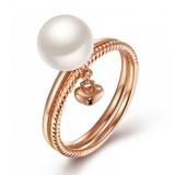 玫瑰色18K金AKOYA珍珠戒指