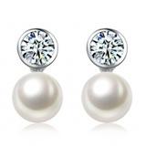 925纯银镶嵌珍珠一心一意耳钉
