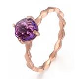 9k玫瑰金紫水晶简约风戒指
