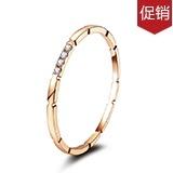 玫瑰色18k金钻戒女个性戒指