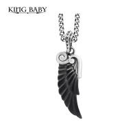 KING BABY CARVED JET WING PENDANT